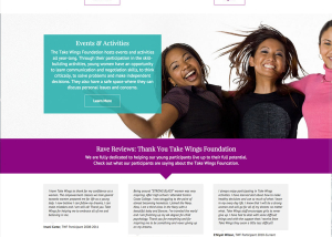 New design for Take Wings Foundation home page using the parallax ffeatue
